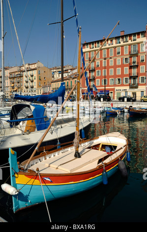 Colourful Painted Fishing Boat in the Old Port, Harbour or Harbor, Nice, Côte-d'Azur, France - Stock Photo