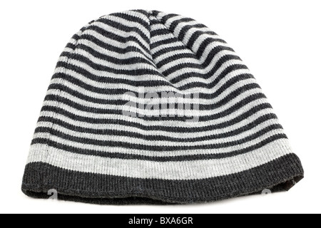 black and grey striped beanie hat - Stock Photo