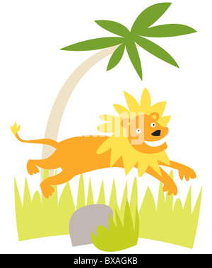 illustration of lion leaping in the grass - Stock Photo