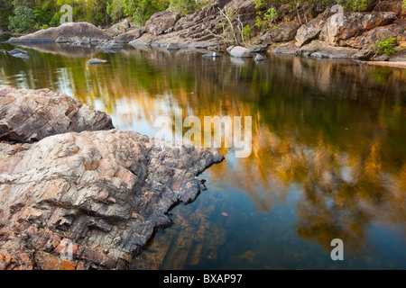 Sunset on Alligator River, Bowling Green Bay, National Park, Townsville, Queensland - Stock Photo