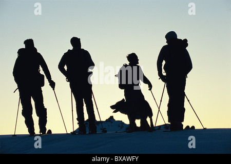 Silhouetted company of skiers with dog, standing on top of hill - Stock Photo