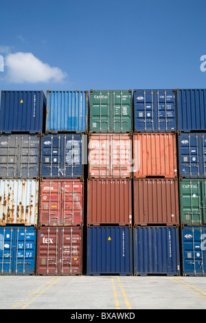 Containers in the port of Duisburg, Germany - Stock Photo