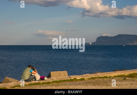 Couple at Terrazza a mare park by the sea Palermo Sicily Italy Europe - Stock Photo