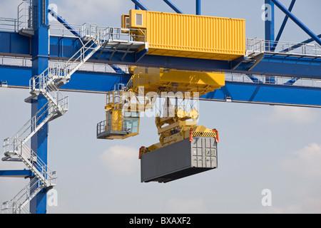 Container port Duisburg Trimodal Terminal D3T, Duisburg, Germany - Stock Photo