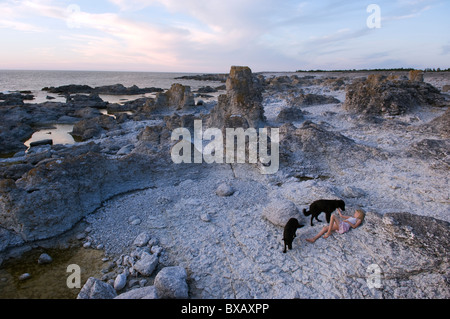 Girl with dogs on beach - Stock Photo