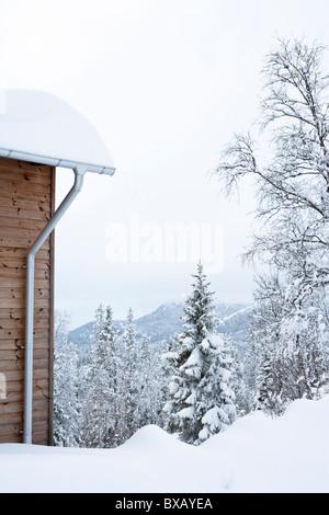 Mountain hut near forest in winter - Stock Photo