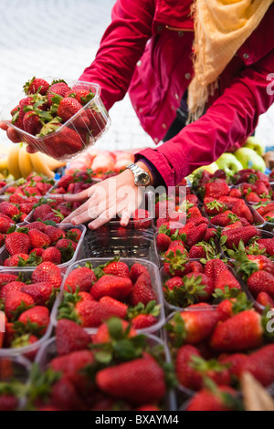 Close-up mid section of woman choosing strawberries at fruit market - Stock Photo