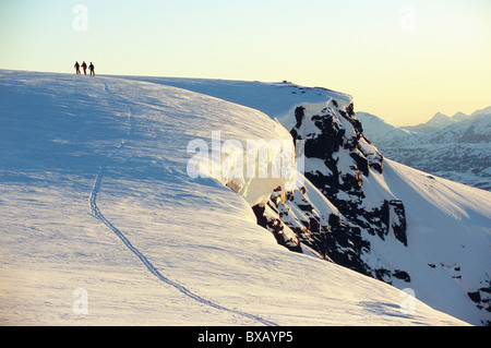 Distant view of climbers on mountain - Stock Photo