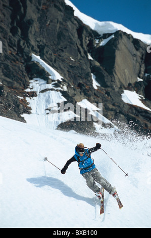 Tourist skiing - Stock Photo