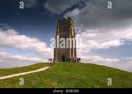 St Michael's tower - the remains of a ruined chapel - sits on the summit of Glastonbury Tor, Somerset, England, - Stock Photo