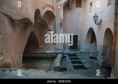 Lavatoio Medievale the medieval public laundry from 17th century central Cefalu town Sicily Italy Europe - Stock Photo