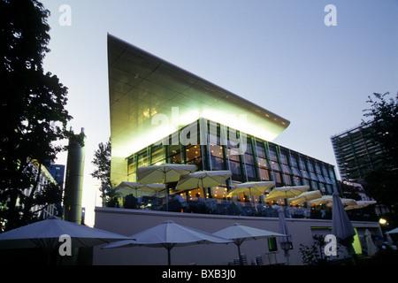 Coffee house and bar, terrace, Restaurant Nizza am Main, Westend, Frankfurt am Main, Hesse, Germany, Europe - Stock Photo