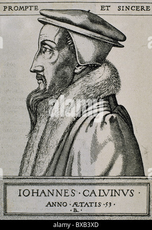 John Calvin (1509–1564). French theologian and pastor during the Protestant Reformation. Engraving. - Stock Photo