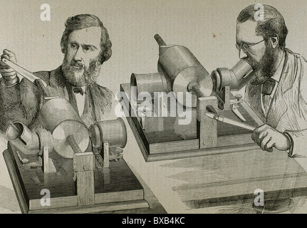 Phonograph. Created in 1877 by Thomas Alva Edison (Milan, Ohio, 1847-West Orange, 1931). Engraving. - Stock Photo