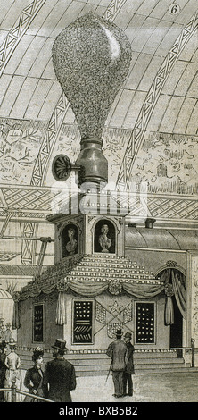 Incandescent giant lamp, model of the Edison type bulb. Exposition Universelle of Paris in 1889. Engraving. - Stock Photo
