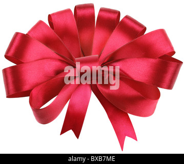 Big red bow isolated on white background. - Stock Photo
