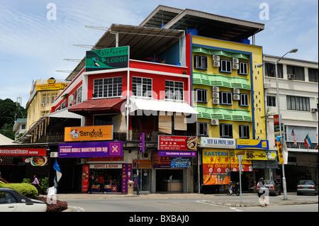 Colourful building in main street of Kota Kinabalu, Sabah - Stock Photo