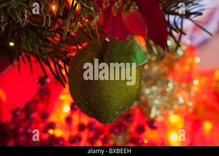 festivals religious christmas detail of lights and decorations on nordman fir tree