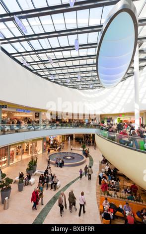 RHEIN-GALERIE, MODERN SHOPPING MALL, LUDWIGSHAFEN AM RHEIN, RHINELAND-PALATINATE, GERMANY - Stock Photo