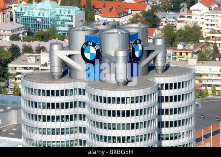 Headquarters of the BMW AG from the Olympic Tower in Munich, Bavaria, Germany, Europe - Stock Photo