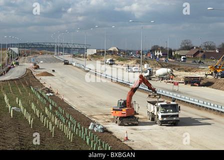 Junction upgrade of A2 near Bean Kent UK - Stock Photo