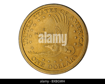 one US dollar coin isolated on white background - Stock Photo