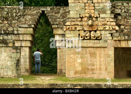 Sculpted Macaw and Maya corbeled arch on the ballcourt at the Mayan ruins of Copan, Honduras. - Stock Photo