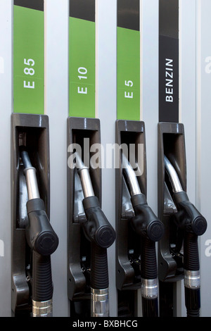 Petrol pump with bioethanol E85, E10, E5, and gasoline at the 63. Internationale Automobilausstellung International - Stock Photo