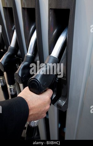 Petrol pump with nozzles at the 63. Internationale Automobilausstellung International Motor Show IAA 2009 in Frankfurt, - Stock Photo
