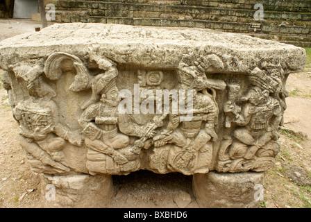 Altar Q showing the 16 rulers of the Mayan city of Copan, Copan ruins, Honduras - Stock Photo