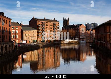 UK, England, Yorkshire, Leeds, Calls Wharf, Riverside houses converted into city centre apartments