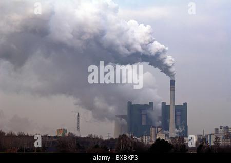 Smoking chimney with the Schkopau power plant, An der Bober 100, Schkopau, Saxony-Anhalt, Germany, Europe - Stock Photo