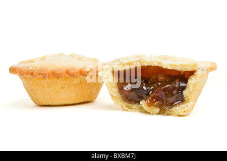 Festive sweet mince pies from low perspective isolated on white. - Stock Photo