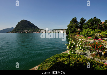 Lugano with San Salvatore Mountain on Lago Maggiore, Lake Maggiore, Canton of Ticino, Switzerland, Europe - Stock Photo
