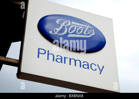 Logo of the drugstore chain Boots in London, England, United Kingdom, Europe - Stock Photo