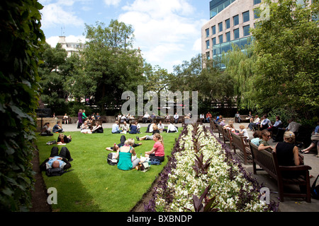 Park in St. Andrew Holborn, London, England, United Kingdom, Europe - Stock Photo