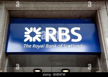 Logo of the RBS, Royal Bank of Scotland in London, England, United Kingdom, Europe - Stock Photo