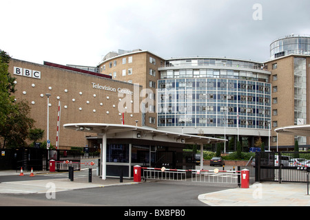 BBC TV channel, broadcasting centre in London, England, United Kingdom, Europe - Stock Photo