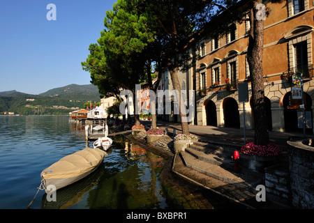Lakeside promenade of Morcote, Lago di Lugano, Lake Lugano, Canton of Ticino, Switzerland, Europe - Stock Photo