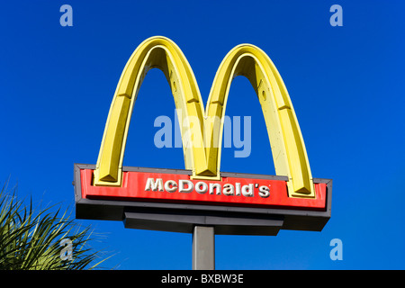 McDonald's fast food restaurant sign, Haines City, Central Florida, USA - Stock Photo