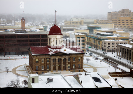 Snow storm by Old State Capitol - Stock Photo