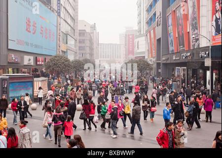 CHINA: Christmas shopping: Qingnian Rd, Chunxi area in Chengdu - Stock Photo