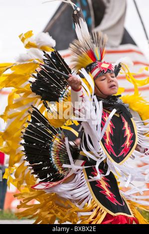 Boy's fancy dance, Pow-wow, Blackfoot Crossing, Alberta, Canada - Stock Photo