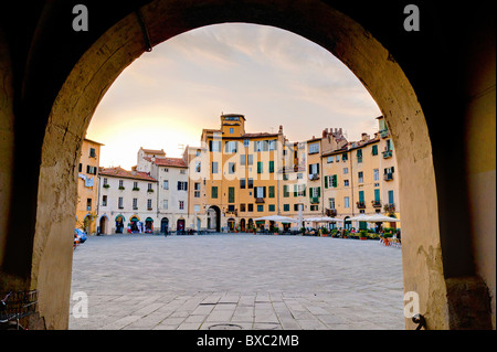 Piazza Anfiteatro Lucca Italy - Stock Photo