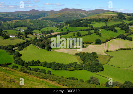 View from Castell Dinas Bran above Llangollen in Denbighshire Wales UK - Stock Photo