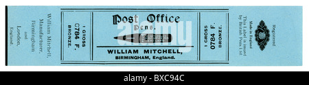 Old box label for one gross steel pen nibs - 'Post Office Pens' manufactured by William Mitchell of Birmingham, - Stock Photo