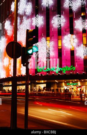 Christmas lights on el corte ingl s department store in - Showroom las palmas ...