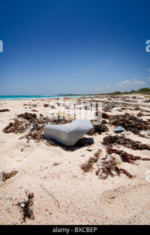 Close up view of washed up garbage on a beach right next to a vacation resort. - Stock Photo
