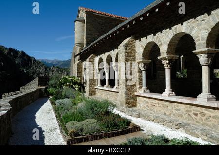 Monastic Kitchen Garden & Cloisters, Saint-Martin-du-Canigou Abbey or Monastery, Canigou, Pyrenees, France - Stock Photo