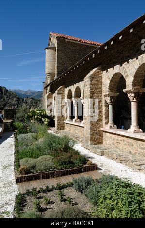Monastic Garden & Cloisters of the Saint-Martin-du-Canigou Abbey or Monastery on Canigou Mountain in the Pyrenees, - Stock Photo